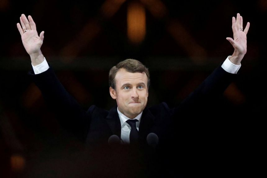 File photo showing French President Emmanuel Macron celebrating at his victory rally near the Louvre in Paris, France, on May 7, 2017.
