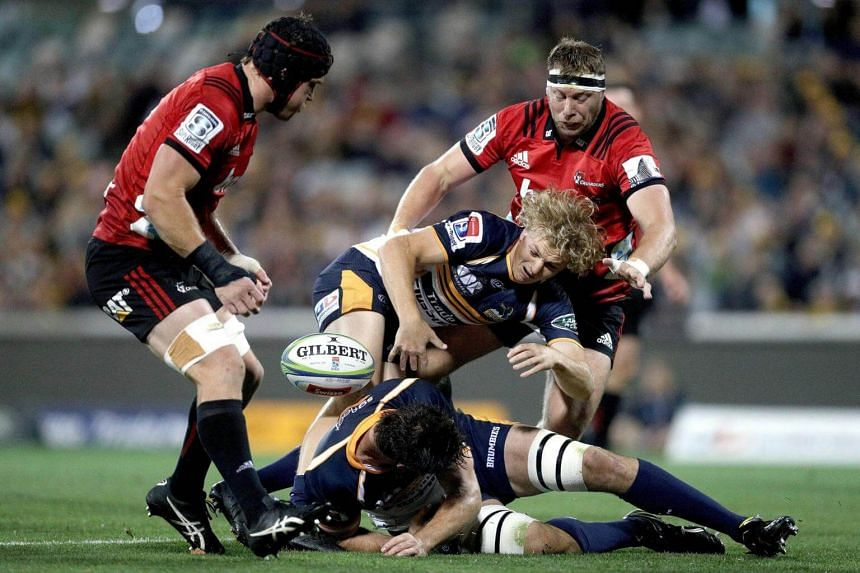 The ACT Brumbies taking on the New Zealand Crusaders during a Super Rugby match at GIO Stadium in Canberra, Australia, on April 28, 2018.