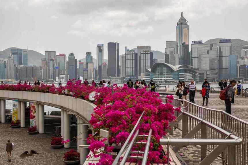 The Tsim Sha Tsui observation deck that overlooks Victoria Harbour and the skyline of Hong Kong.