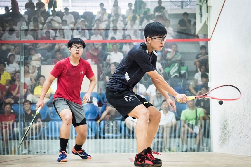 RI's Anders Ong Wee Jun was always a step ahead of his HCI opponent Su Wei Zhe, winning 3-0 to clinch the winning point A Division boys' squash final on May 3, 2018.