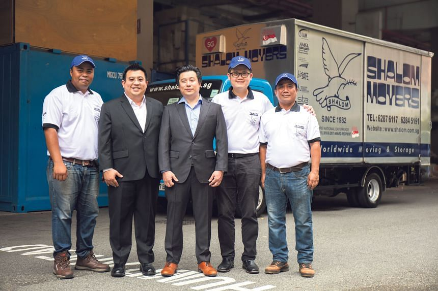 L-R: Muhamad Rifai Bin Mohd Jiwa, 34, operations field manager, Gideon Lam, 40, chief executive , Gabriel Lam, 35, chief operating officer, Vincent Ng, 33, assistant operations manager, Ahmad Senin Bin Huri , 55, operations field manager at Shalom's