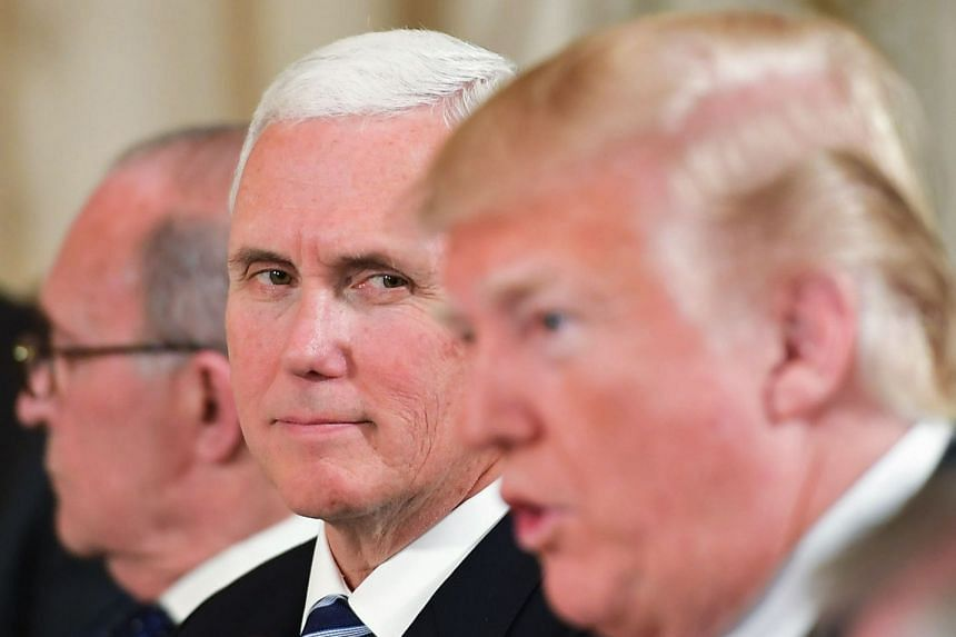 Mike Pence watches as US President Donald Trump speaks during a working lunch with Japan's Prime Minister Shinzo Abe.