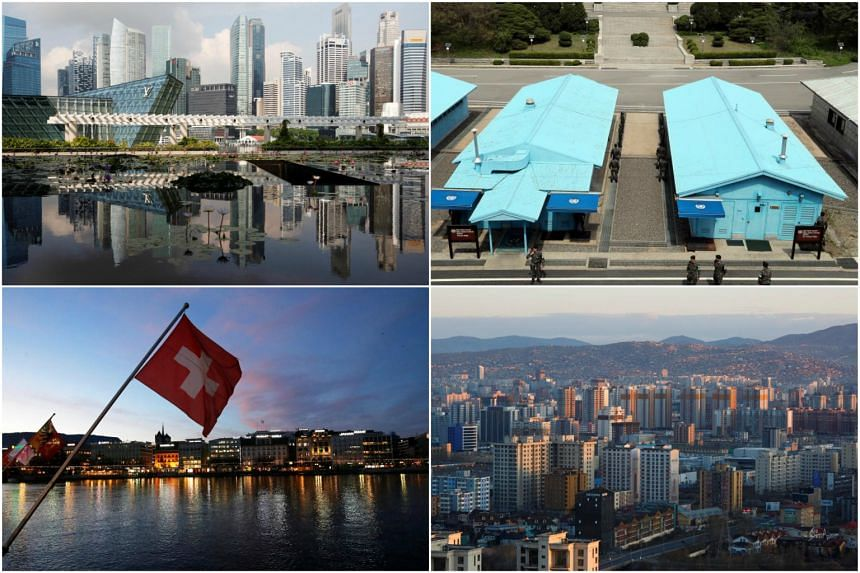 (Clockwise from top left) Singapore, Panmunjom in the demilitarised zone, Mongolia's capital Ulaanbaatar and Geneva are all possibilities for a historic meeting between North Korean leader Kim Jong Un and United States President Donald Trump.