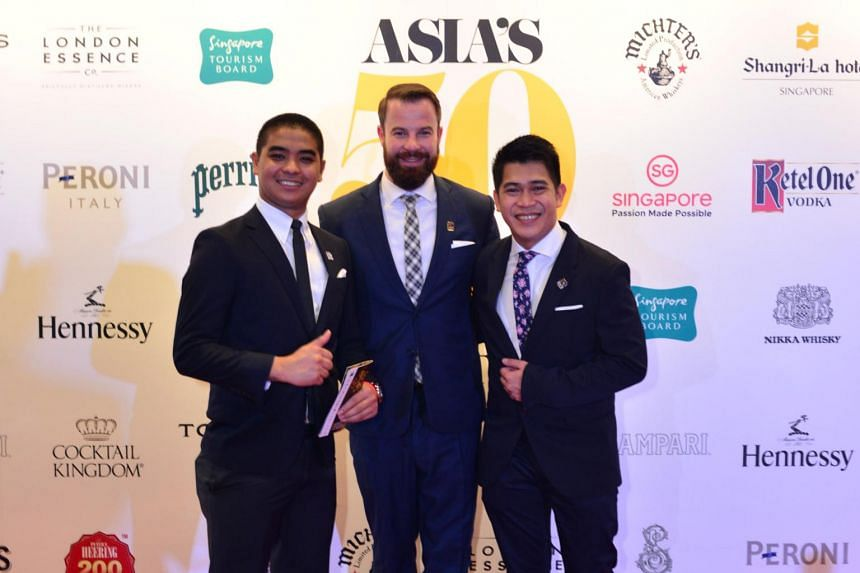 The team from Manhattan, who took the first place at Asia's 50 Best Bars. L-R head bartender Cedric Mendoza, Bar manager Philip Bischoff and assistant bar manager Gabriel Carlos.