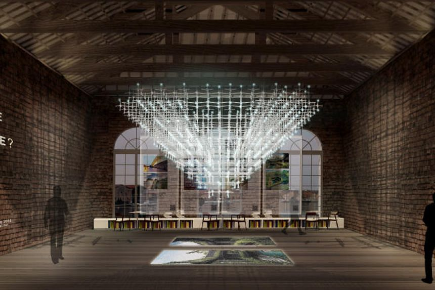 The Singapore Pavilion's No More Free Space? exhibition features light projections, videos and images of 12 projects which feature the creative use of space in Singapore.