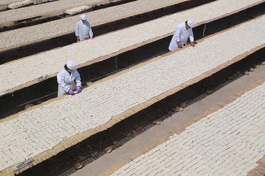 Workers in Qinhuangdao, Hebei, yesterday inspecting tofu. US farmers rely on China as the top buyer of soya beans, the main ingredient of tofu.