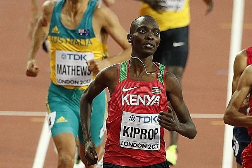 Asbel Kiprop competing in the 1,500m semi-finals in last year's London World Athletics Championships. He finished ninth in the final.