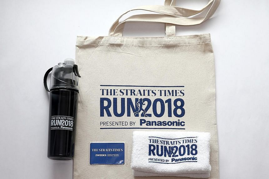 The first 300 people to register for The Straits Times Run at the OCBC Cycle Weekend Market will receive exclusive premiums, such as a cotton tote bag, a towel, and a water bottle with a misting feature.