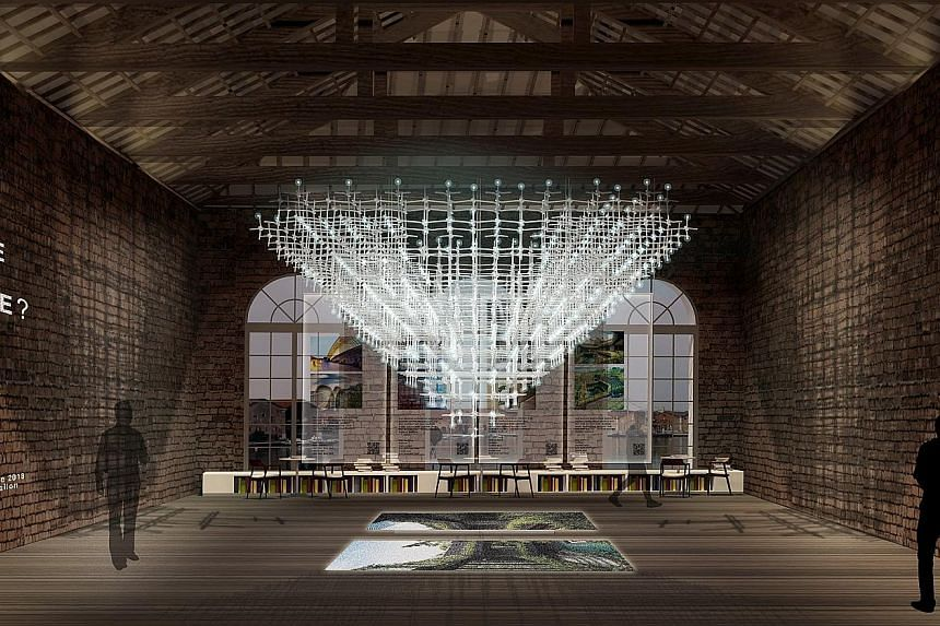 The No More Free Space? showcase at the Singapore Pavilion features light projections, videos and images of 12 projects that have demonstrated creative use of space in land-scarce Singapore.