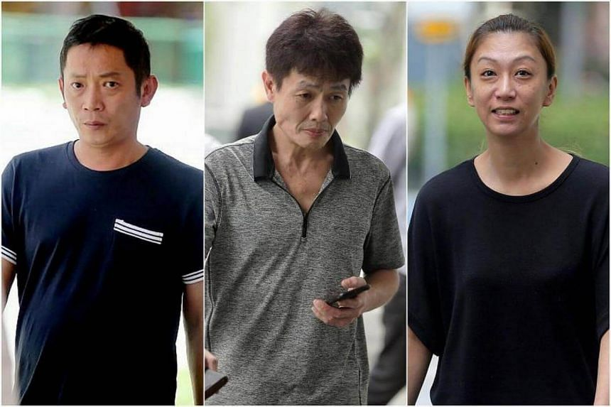 (From left) Tan Sung Meng and Ang Sim Poh were each sentenced to six weeks in jail while Pang Pei Pei was jailed for four weeks.