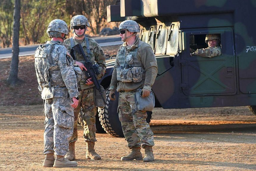 A file photo of US soldiers standing guard during a joint medical evacuation exercise at a South Korean Army hospital in Goyang, north-west of Seoul, on March 14, 2017.