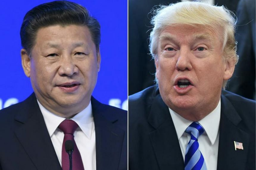 """US President Donald Trump (right) said he had """"great respect"""" for Chinese President Xi Jinping."""