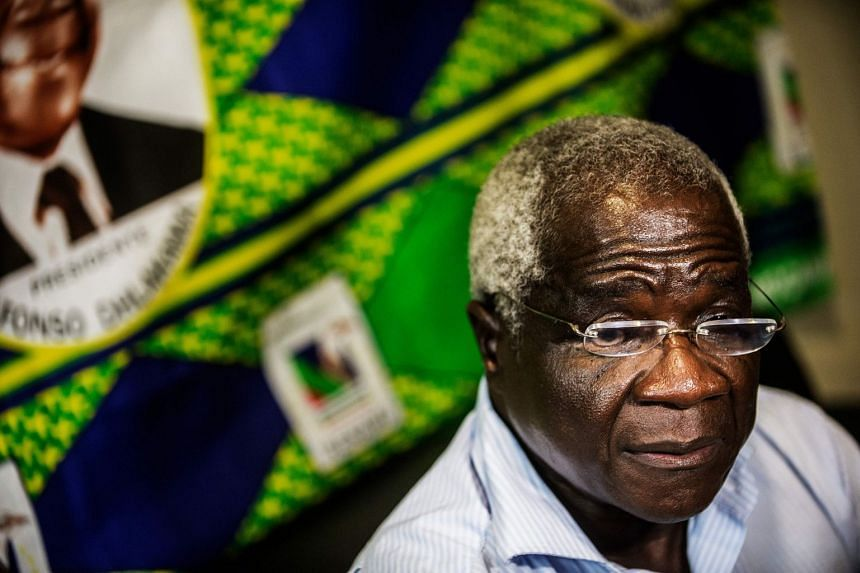 A 2014 photo shows Afonso Dhlakama speaking during an interview in Maputo.