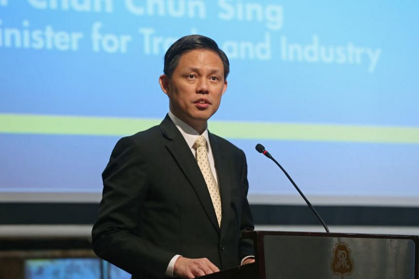 Trade and Industry Minister Chan Chun Sing delivers a keynote speech at a lunch organised by the European Chamber of Commerce on May 4, 2018.