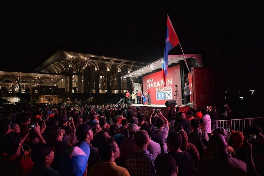 Tun Dr Mahathir speaking at a rally in the country's administrative capital of Putrajaya on May 3, 2018.