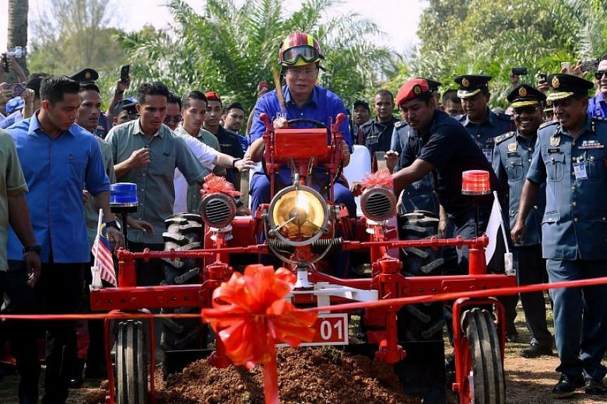 Datuk Seri Najib at a groundbreaking ceremony for a new station for the Fire and Rescue Department in Raub constituency, in Pahang state on May 3, 2018.