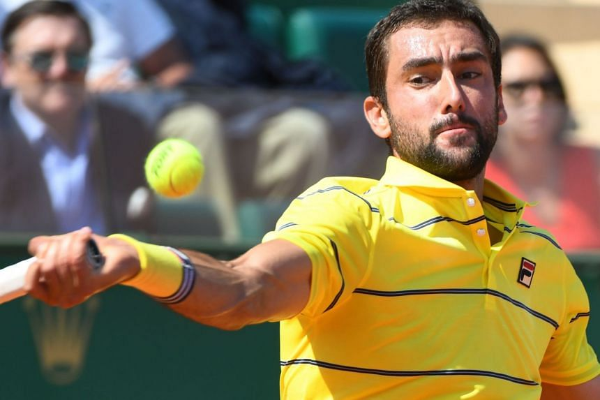 Cilic in action during the Monte-Carlo Masters in Monaco in April 2018.