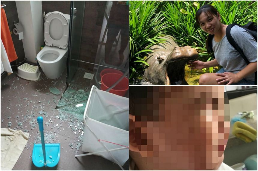 Filipino maid Sheryl Manuel Carabacan (top right) walked on broken glass to save the three-year-old (bottom right) who had accidentally shattered a door in the toilet.
