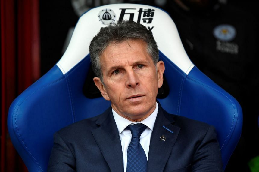 Puel is pictured prior to a match against Crystal Palace on April 28, 2018.