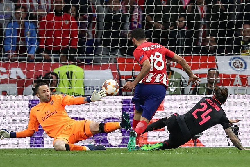 Atletico Madrid's Diego Costa scoring the only goal in the second leg of the Europa League semi-final against Arsenal on Thursday. His goal took Atletico through to their third final in eight years and ended Arsene Wenger's hopes of lifting a Europea