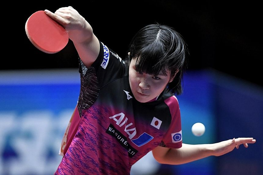 Japan's Miu Hirano on the way to defeating South Korean Yang Ha Eun 11-4, 11-5, 9-11, 11-6 in the women's semi-finals at the World Team Table Tennis Championships in Halmstad, Sweden, yesterday. Her victory completed Japan's 3-0 win against a unified