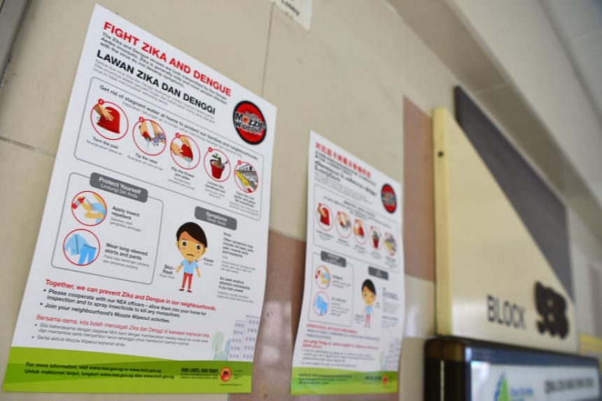 Posters displaying information on safety measures against dengue and Zika were pasted at the lift landing of Block 938, Jurong West Street 91.