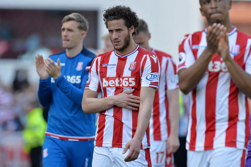 Stoke City's Ramadan Sobhi reacts after the match as they are relegated from the Premier League, on May 5, 2018.
