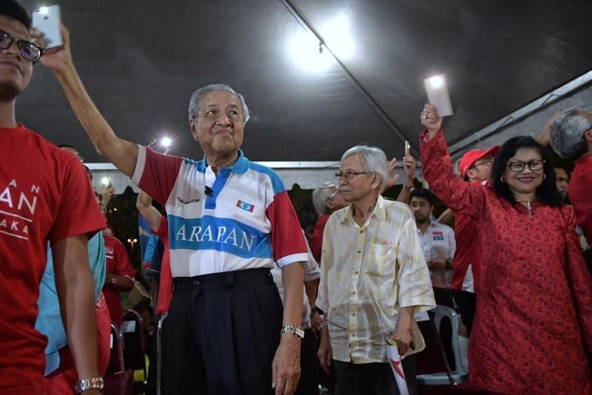 Former Prime Minister and Pakatan Harapan chairman Mahathir Mohamad at a rally in Mutiara, Malacca on May 4, 2018.