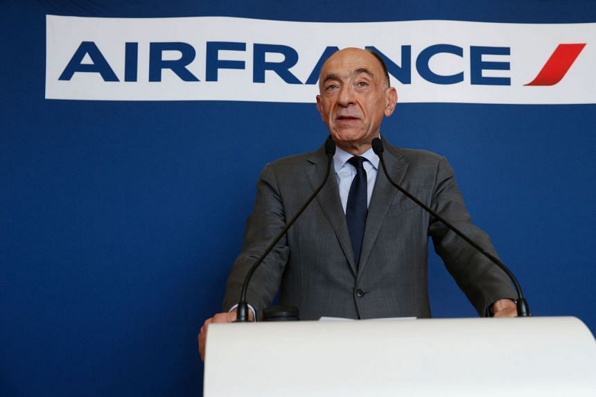 Janaillac speaking during a press conference as he announces his resignation.