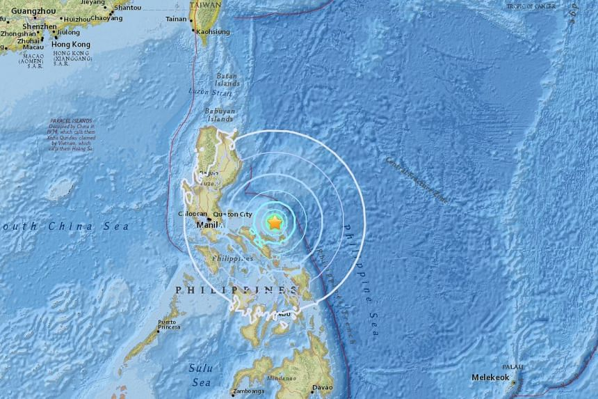 The quake hit about 50km north north-west of Pandan, on the island of Catanduanes.