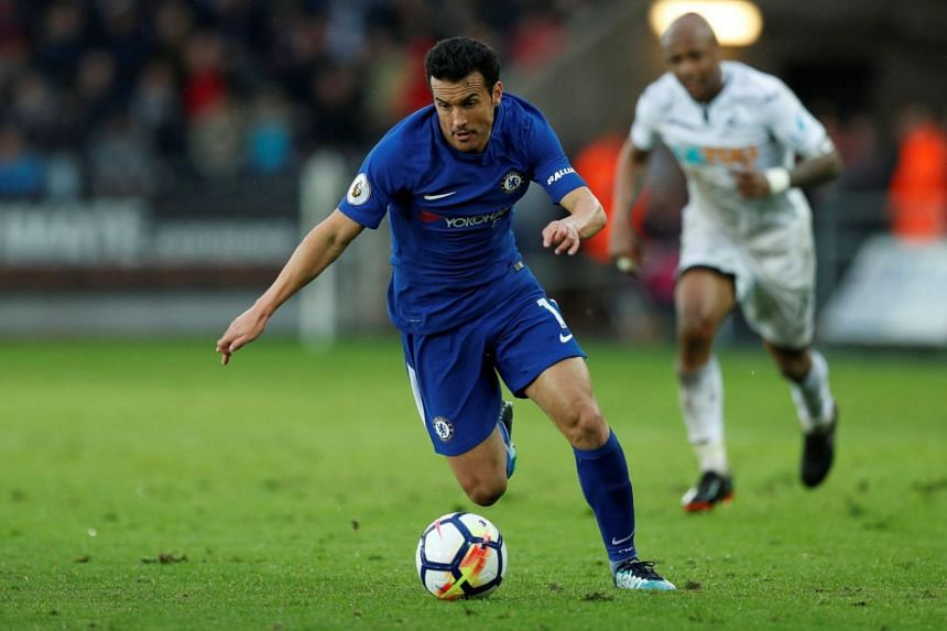 Chelsea's Pedro in action during an English Premier League match against Swansea City on April 25, 2018.