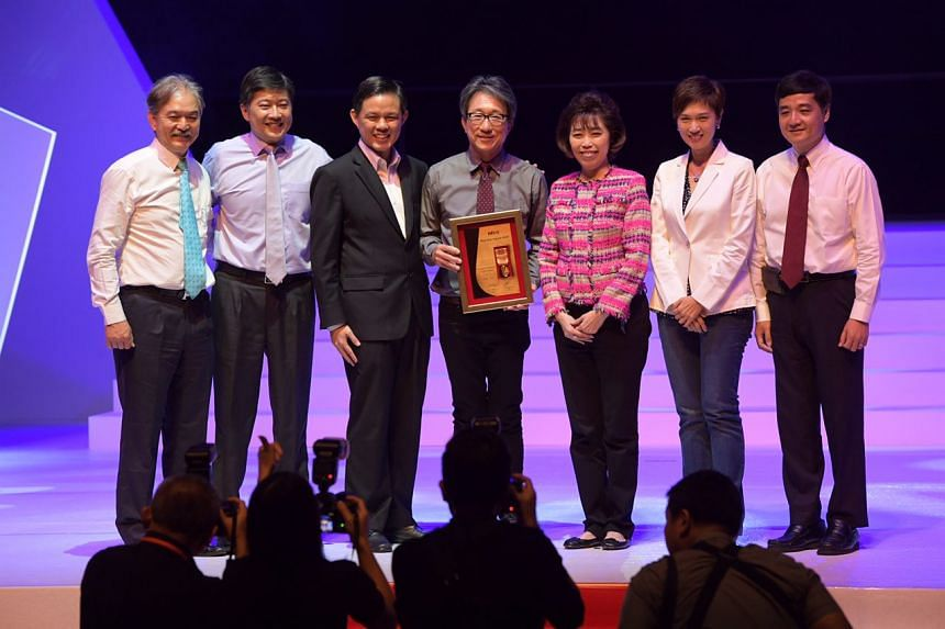 From left: President of the Singapore National Employers Federation Robert Yap, NTUC deputy secretary-general Ng Chee Meng, Trade and Industry Minister Chan Chun Sing, former Manpower Minister Lim Swee Say, NTUC president Mary Liew, Manpower Minister