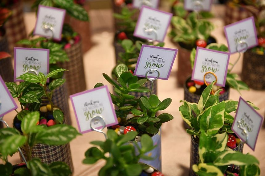 Upcycle plants put together by students from Rainbow Centre Yishun Park School on sale at Seeds Market.