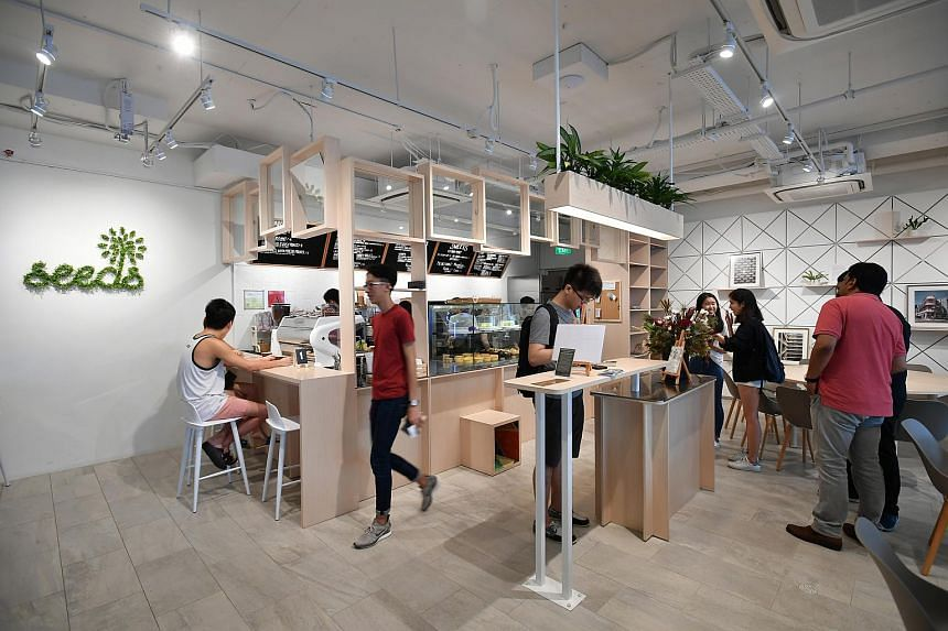 The interior of Rainbow Centre's newest space, Seeds Cafe, during its launch on May 5, 2018.