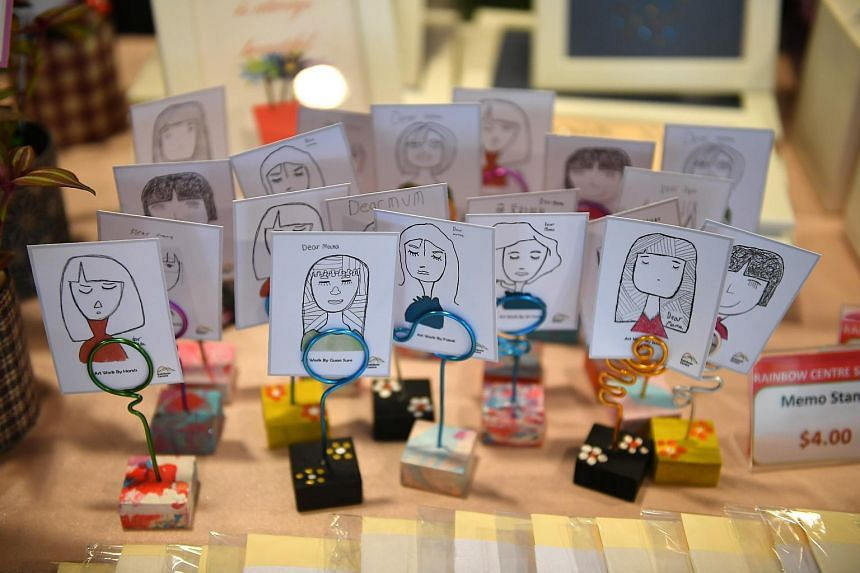Memo stands done by students from Rainbow Centre Yishun Park School on sale at Seeds Market.