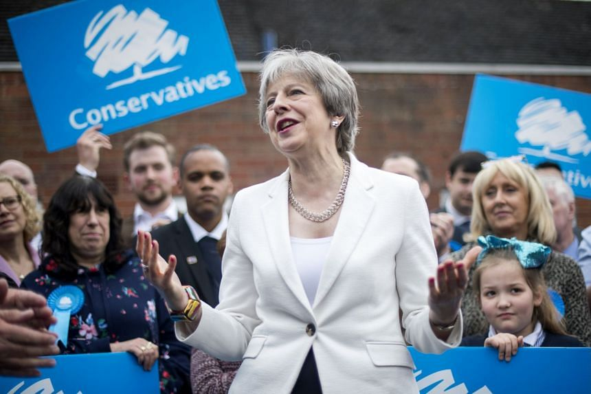 Prime Minister Theresa May speaks to party supporters at Sedgley Conservative Club in Dudley, United Kingdom, on May 4, 2018.