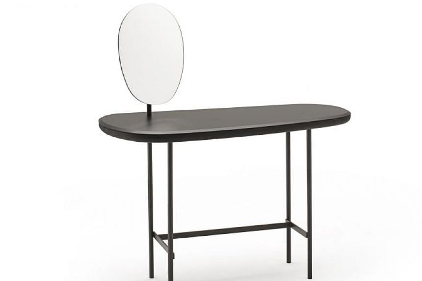 Lanzavecchia + Wai's Pebble vanity table (above) , ModuDesigners' Turtles rockers-cum-seats and Mr Gabriel Tan's Stove Chairs .