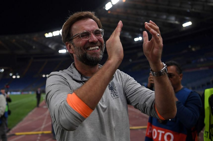 Klopp applauds the fans following Liverpool's Champions League semi-final second leg match against AS Roma.