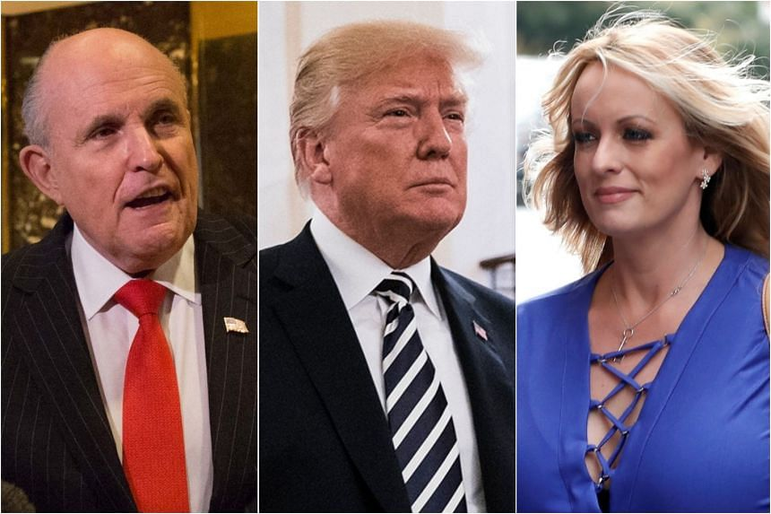 US President Trump's lawyer, former mayor Rudy Giuliani (left), issued a statement saying the US$130,000 (S$170,000) in hush money paid to adult-film star Stormy Daniels (right) was not an election law violation.