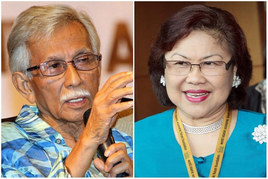 Former finance minister Daim Zainuddin (left) and former trade minister Rafidah Aziz have been expelled from Umno for colluding with the opposition.
