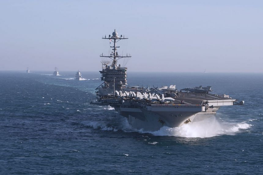 The aircraft carrier USS Harry S. Truman and assigned ships in the Atlantic Ocean in October 2017.