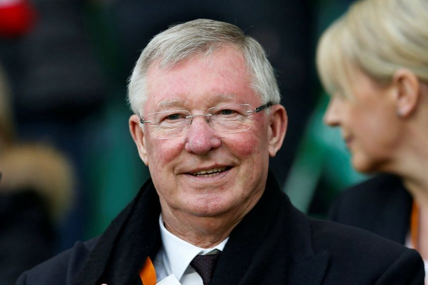 Sir Alex Ferguson in the stands for a Manchester United Europa League match in 2017.