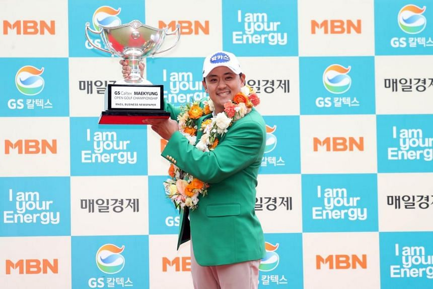 Park Sang Hyun won the Maekyung Open in Seoul on May 6, 2018.