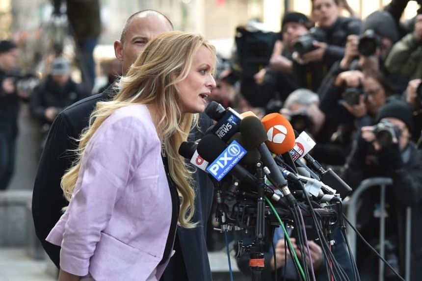 Adult film actress Stephanie Clifford, known also as Stormy Daniels, speaking outside the US Federal Court on April 16, 2018.