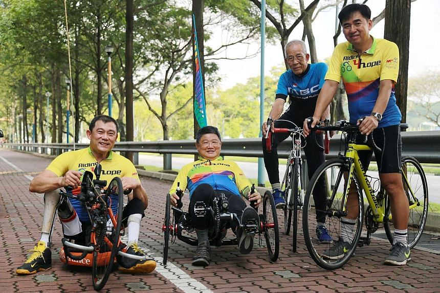 The Riding For Hope team that will make the 16-day cycling trip through the United Kingdom in July is made up of (from left) Mr Michael Ngu, Mr Tag Sin Siew, Mr Tan Ah Chwee and Mr Tee Lay Kern. They hope to raise $257,000 from the trip.