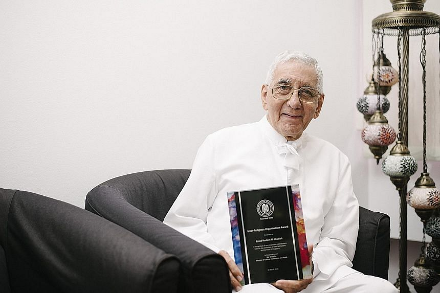 Mr Rustom Ghadiali received the Inter-religious Organisation Award in March for his contributions to inter-faith harmony over a span of 30 years. He is a priest of the Zoroastrian faith, which is one of the world's oldest surviving religions and has