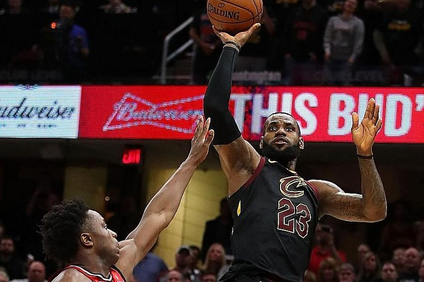 Cleveland Cavaliers star LeBron James hits the game-winning shot over the outstretched hand of O.G. Anunoby of the Toronto Raptors to give his team a 105-103 win in Game 3 and a 3-0 advantage in their Eastern Conference semi-finals series at Quicken