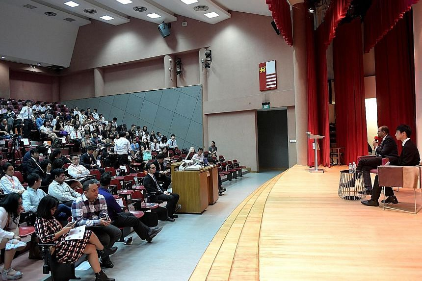 Dr Janil, who was then Senior Minister of State for Education, at the opening question-and-answer session of the third edition of the OnePeople.sg Model United Nations conference held at National Junior College in June last year. Dr Janil, who is an