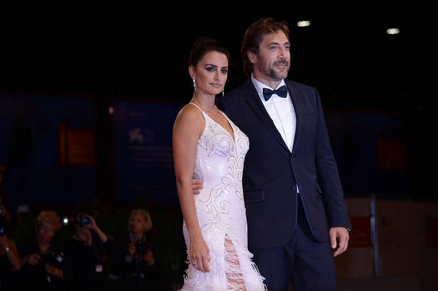 Spanish actors Javier Bardem and Penelope Cruz attend the premiere of the movie Loving Pablo presented out of competition at the 74th Venice Film Festival at Venice Lido, on Sept 6, 2017.
