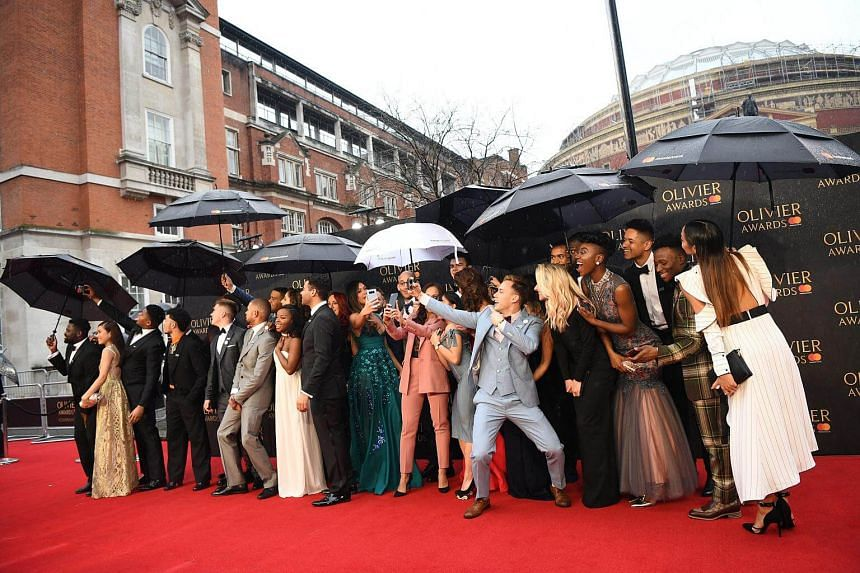 The cast of the musical Hamilton arriving at the Olivier Awards at the Royal Albert Hall in London, Britain, on April 8, 2018.